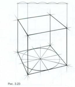 Перспективный рисунок куба и четырехгранной призмы
