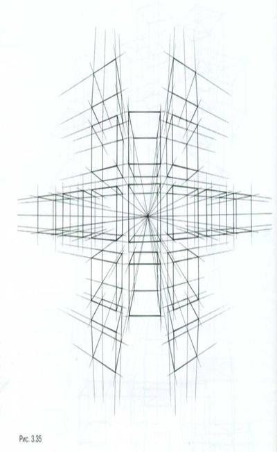Линейно-конструктивный рисунок композиции из кубов по плану и фасаду во фронтальной и угловой перспективах
