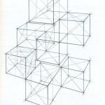 Линейно-конструктивный рисунок композиции из кубов и четырехгранных призм в перспективе