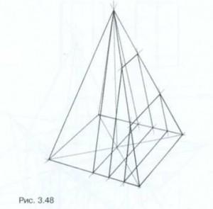 Линейно-конструктивный рисунок пирамиды