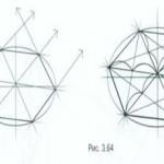 Линейно-конструктивный рисунок шестигранной призмы