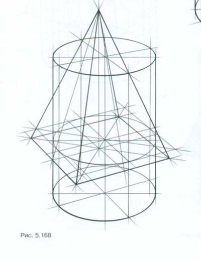 Тональная шкала, выполненная в технике штриховки