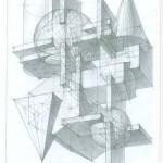 Линейно-конструктивный рисунок композиции из геометрических тел