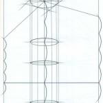 Линейно-конструктивный рисунок композиции из геометрических тел на основе «сетки»