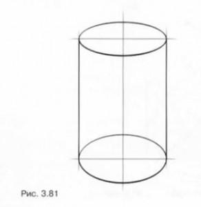 Линейно-конструктивный рисунок цилиндра