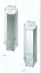 Тональный рисунок четырехгранной и шестигранной призм