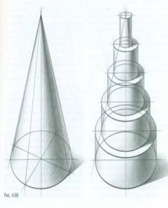 Тональный рисунок ступенчатого конуса