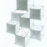 Тональный рисунок композиции из четырех кубов