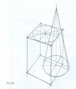 Врезка куба и конуса