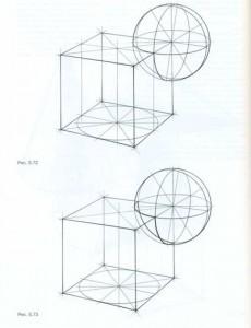 Врезка шара и куба по заданным ортогональным проекциям