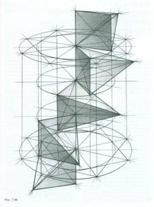 Повороты четырехгранника и пирамиды вокруг вертикального ребра