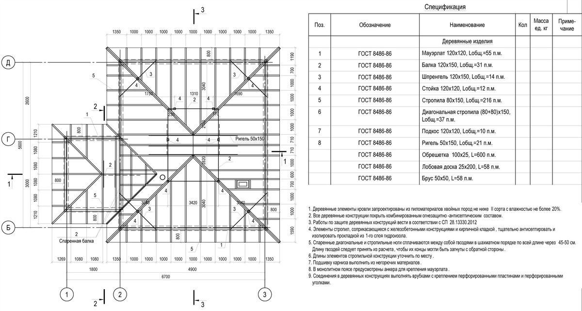 План стропил на строительных чертежах
