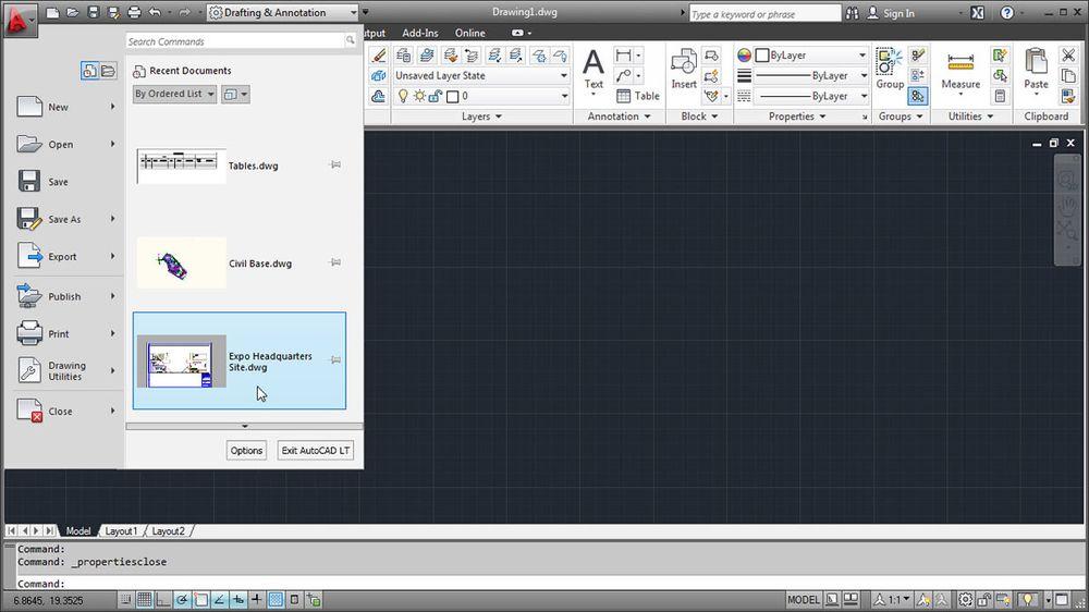 ленточный интерфейс AutoCAD